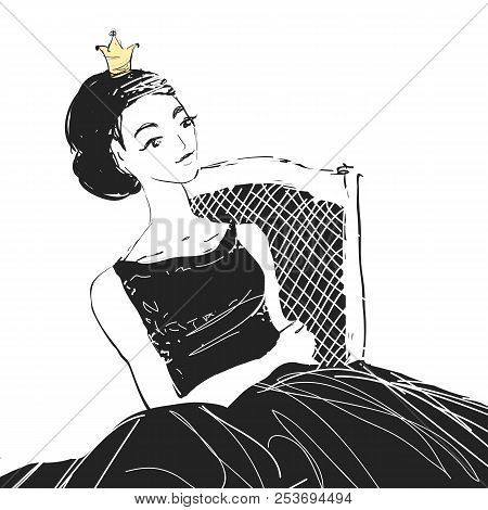 Dreaming Woman Princess With A Crown Sittting On A Chair. Vector Comics Style Illustration.
