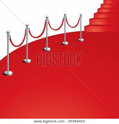 portable velvet rope on red carpet vector illustration, isolated on white