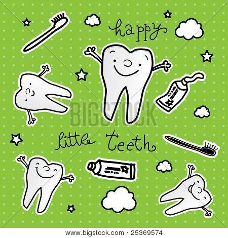 happy teeth cartoon vector wallpaper, dental health for children