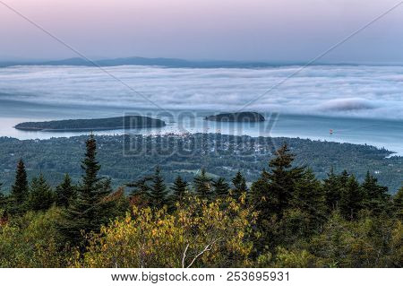 Fog Bank Rolls In To Bar Harbor - View From Cadillac Mountain, Maine, Usa