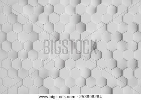 3d Illustration White Geometric Hexagonal Abstract Background. Surface Hexagon Pattern, Hexagonal Ho