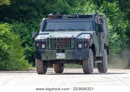 Feldkirchen / Germany - June 9, 2018: German Armoured Personnel Carrier Mowag Eagle, From Bundeswehr