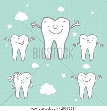 happy teeth and sad teeth cartoon vector, dental health for children
