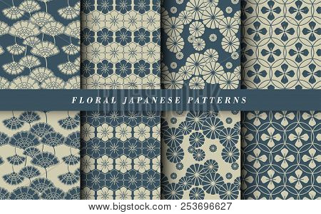 Abstract Floral Patterns With Tulips. Set Of Patterns. Vector Flower.