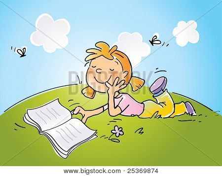 girl sitting on grass reading a book, vector cartoon drawing