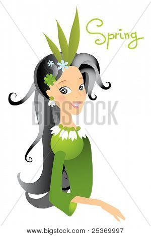spring season vector cartoon character