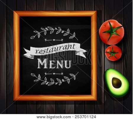 Restaurant Menu Board Restaurant Menu Bulletin Board With Chalk Stroked Alphabet Capital Letters, Nu