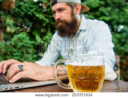 Fan Bet Online Championship While Sit Terrace Outdoors With Beer. Football Fan Bearded Hipster Make