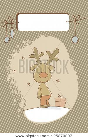 reindeer christmas holiday card, free label for your text poster