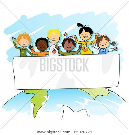 multiracial kids on top of the world with banner for your message, vector illustration