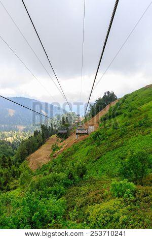 Aibga Ridge. Mountain Kamennyy Stolb. 2509m. Mountains Near The Ski Resort. Cable Car On The Mountai