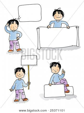 school kids holding blank sign,cartoon boy watercolor style series. grouped and layered for easy editing, see more images related