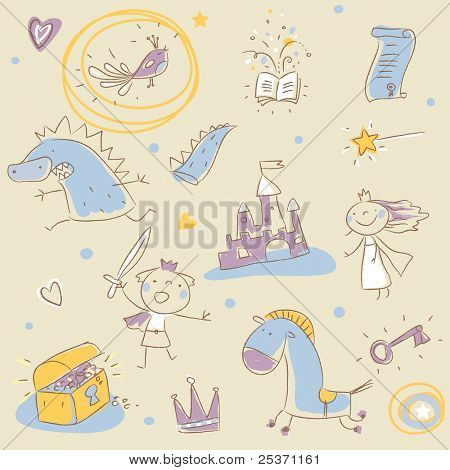 children story book drawing elements