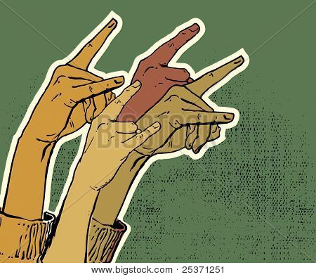 hands up showing rock sign grunge illustration