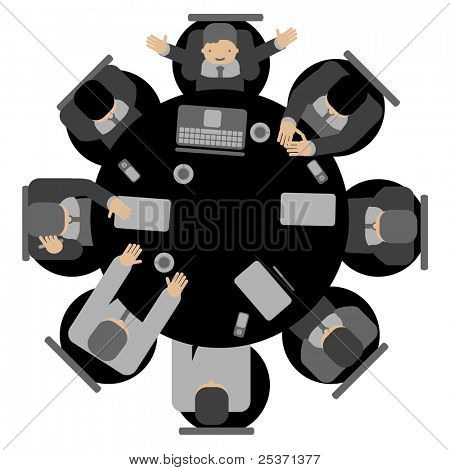 Business meeting, top view round table