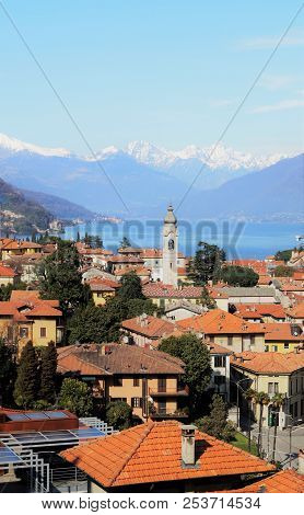 Rooftops Of Como. A Perspective From Above The Rooftops Of Menaggio, A Picturesque Small Town In The