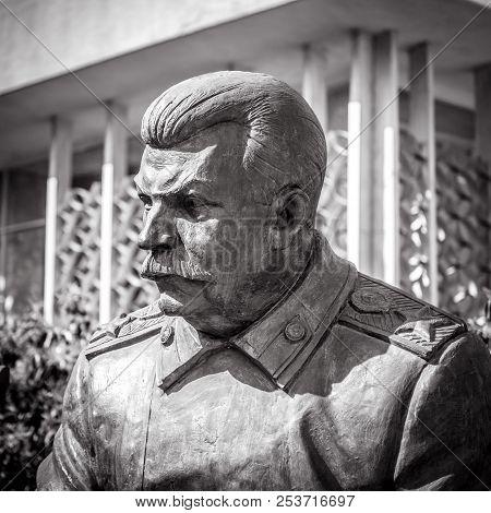 Livadia, Crimea - May 17, 2016: Statue Of Soviet Leader Stalin By Zurab Tsereteli In Livadia Palace,