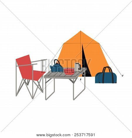 Summer Camping Icon. Tourist Camp Equipment For Vacation Leisure Activity, Rest. Colorful Cartoon St