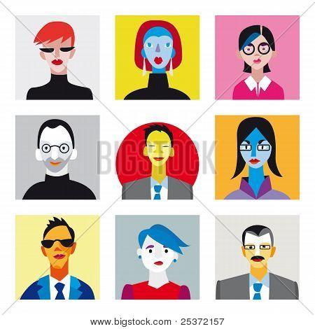 Avatar businessmen and businesswomen set