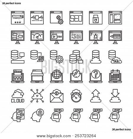 Browser And Interface Outline Icons Perfect Pixel. Use For Website, Template,package, Platform. Conc