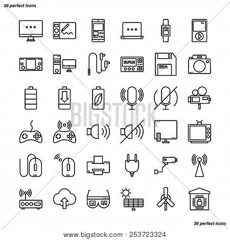 Device And Technology Outline Icons Perfect Pixel. Use For Website, Template,package, Platform. Conc