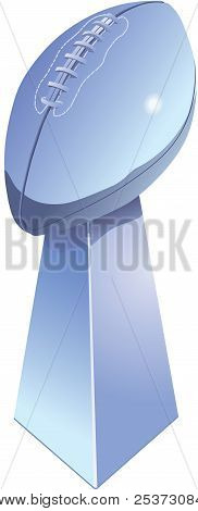 Chromed football trophy isolated with white background. poster