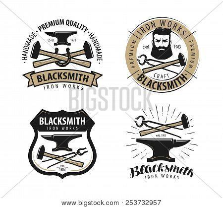 Forge, Blacksmith Logo Or Label. Blacksmithing Set Of Emblems
