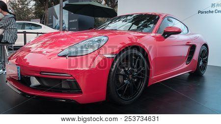 17 June, 2018. Suzhou City, China. Close-up Photo Of Red Porsche 718 Boxter Gts At Motorshow