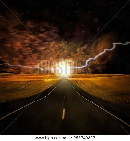 Surreal painting. Energy at the end of a road. 3D rendering