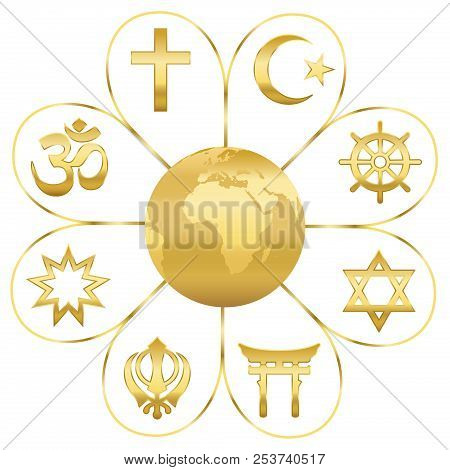 World Religions United On A Golden Flower With Planet Earth In Center. Signs Of Major Religious Grou