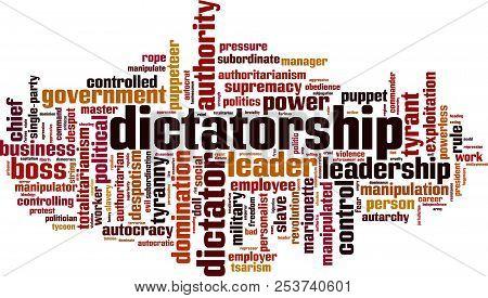 Dictatorship Word Cloud Concept. Vector Illustration On White