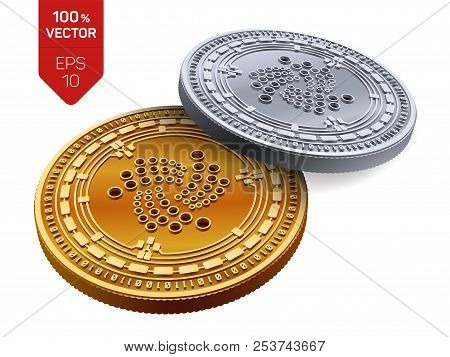 Iota. Crypto Currency. 3d Isometric Physical Coins. Digital Currency. Golden And Silver Coins With I