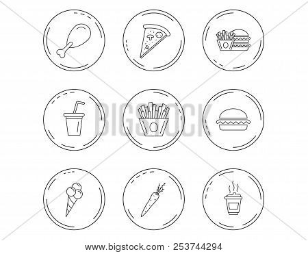 Vegetarian Burger, Pizza And Soft Drink Icons. Coffee, Ice Cream And Chips Fries Linear Signs. Chick