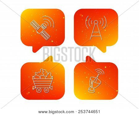 Telecommunication, Minerals And Antenna Icons. Gps Satellite Linear Sign. Orange Speech Bubbles With