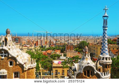 BARCELONA, SPAIN - JUNE 5: Park Guell on June 5, 2010 in Barcelona, Spain. The famous park, designed by Antoni Gaudi, was built between 1900 and 1914 and opened as a public park in 1920