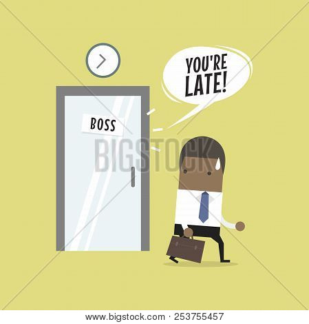 African Businessman Working Late. Walking Through The Boss Room And Was Warned By Boss. Vector