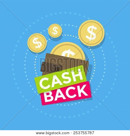 Brown Wallet Icon Cash Back, Cash Back Icon With Coins And Wallet Isolated On Blue Background.