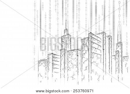 Low Poly Smart City 3d Wire Mesh. Intelligent Building Automation System Business Concept. Binary Co