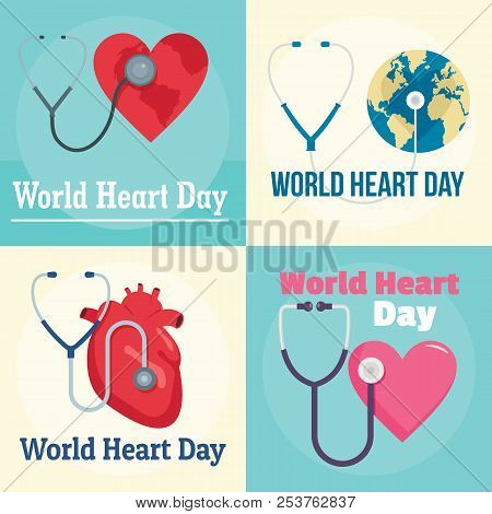 World Heart Day Core World Doctor Medical Banner Concept Set. Flat Illustration Of 4 World Heart Day