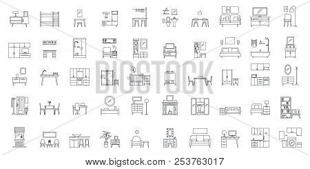 Interior Room. Objects In House. Home Inside Furniture Icons Set. Outline Illustration Of 50 Interio