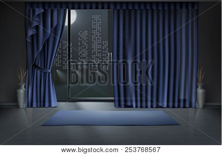 Vector Mockup Of Empty Room In Night With Large Glass Door And Blue Curtains, Yoga Mat On Clean Floo