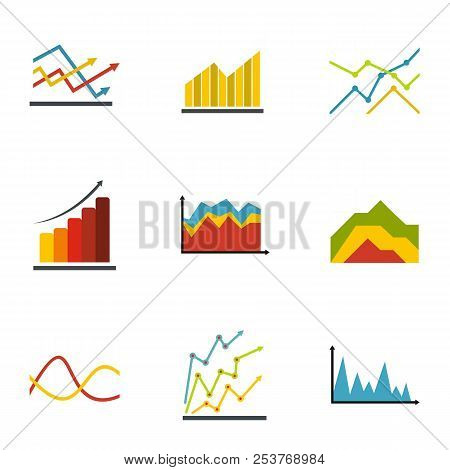 Economic Graph Icons Set. Flat Set Of 9 Economic Graph Icons For Web Isolated On White Background