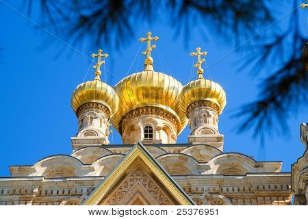 Cupola of Maria Magdalena church in Jerusalem