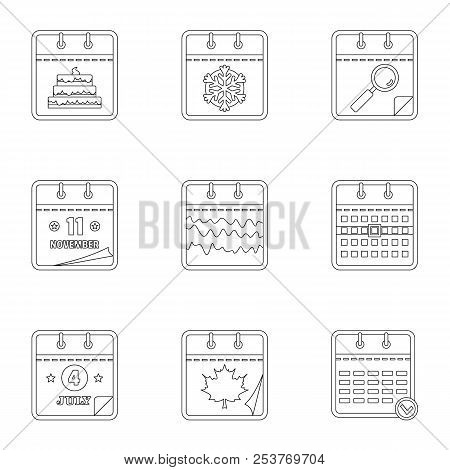 Daily Log Icons Set. Outline Set Of 9 Daily Log Icons For Web Isolated On White Background