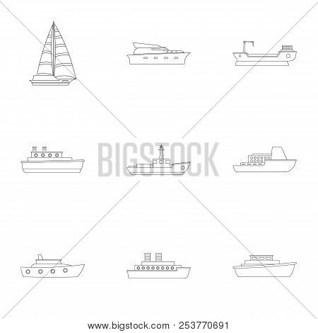 Sailor Icons Set. Outline Set Of 9 Sailor Icons For Web Isolated On White Background