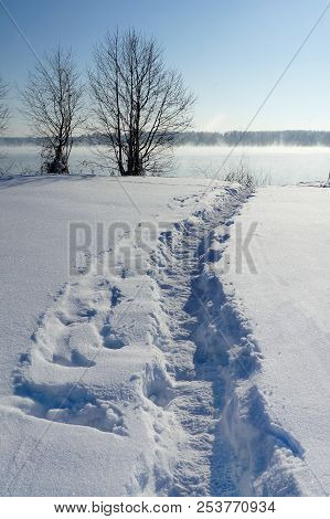 Winter Nature, River, Snow And Snowy Way