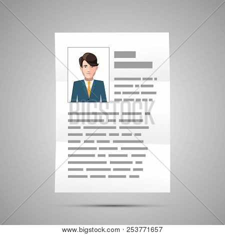 Bright Resume With Handsome Guy Photo, A4 Document Icon With Shadow On Gray
