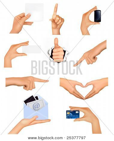 Set of hands holding different business objects. Raster version of vector.