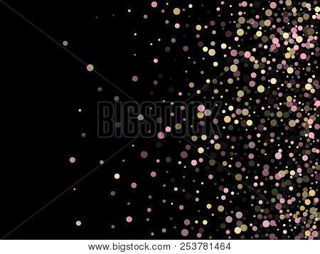 Pink Gold Confetti Circle Decoration For New Year Card Background. Bokeh Lights Effect Vector. Gold,
