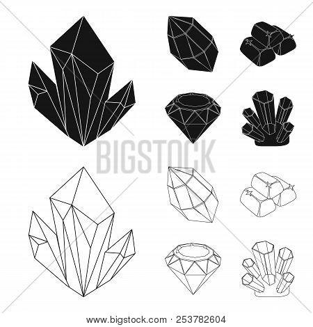 Crystals, Minerals, Gold Bars. Precious Minerals And Jeweler Set Collection Icons In Black, Outline